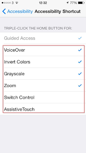 Accessibility Shortcut Triple click Home – iPhone iPad iPod