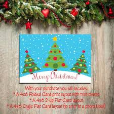 Digital Printable CHRISTMAS CARDS DIY Instant Download You Print Christmas Tree Design