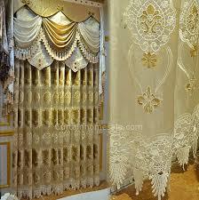 curtain in light gold velvet and sheer