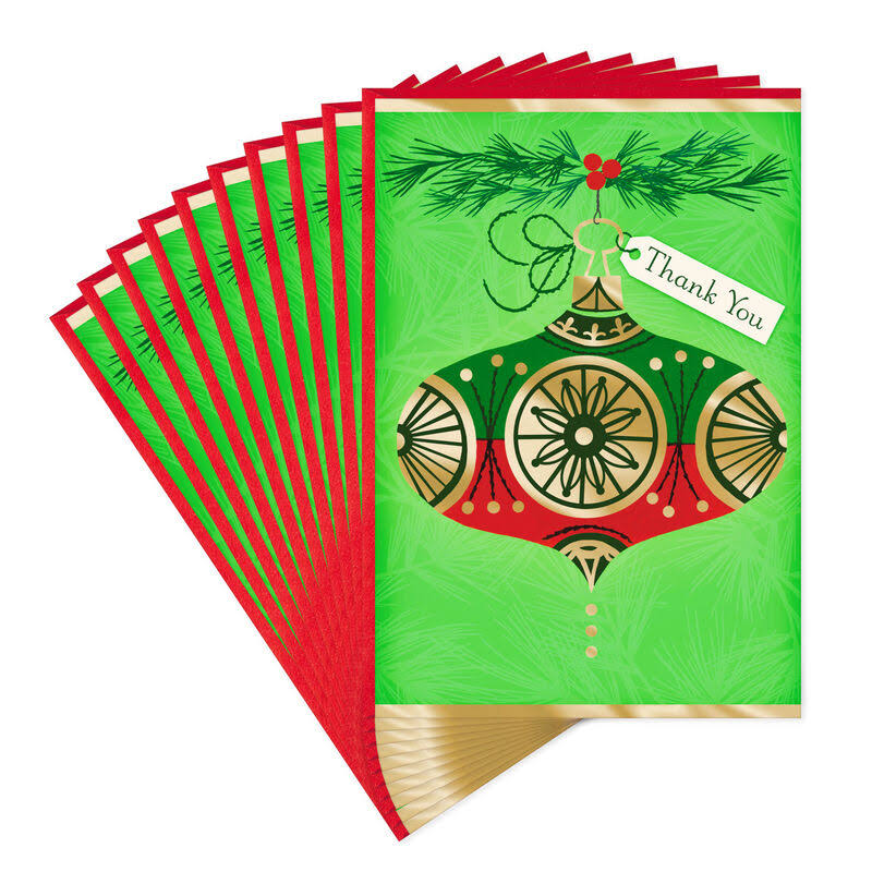Red and Green Ornament Thank-You Christmas Cards, Pack of 10