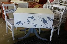 100 Repurposed Table And Chairs HandPainted Drop Leaf With Two Chairs At Just