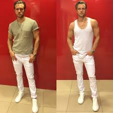 mens summer fashion white skinny jeans style with a hip hop vibe