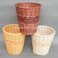Free Shipping Eco Friendly Willow Handwoven Waste Paper Bin Trash Basket Storage Bucket Garbage