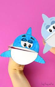 Printable Shark Puppet Paper Craft For Kids