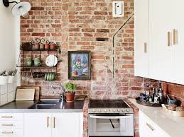 Wooden Cabinetry Using Storage Drawers And Also Exposed Brick Wall Small Sink Plus Faucet Rustic Style Kitchens Decoration Ideas Red