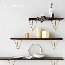 Modern Loft Design Wall Mounted Metal And Solid Wooden Shelf Bookshelf Flower Pot Display Rack