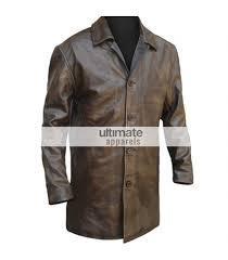 mens distressed brown trench leather blazer jacket
