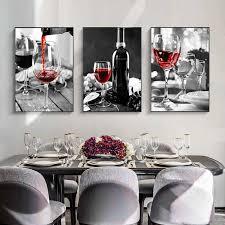 nordic rotwein und flasche küche poster schwarz weiß trinken