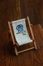 Vintage Dollhouse Folding Lounge Chair With Blue Owl On White Canvas  Material, Wood Patio Chair For Madeline Dolls Or 6
