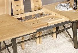 table rectangulaire loann en chêne et fer 191x101 avec 2 allonges