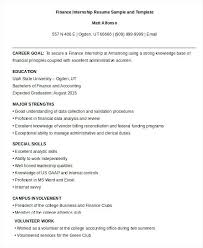 Finance Internship Resume Sample Resumes Student