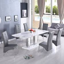 Monton Extendable Dining Table In White With 6 Vesta Grey Chairs
