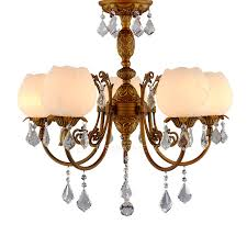 Vintage 5 Light Glass Shade Crystal Antique Alabaster Chandelier