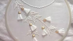 Hand Embroidery Neck Line White Work Tassel Design