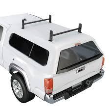 100 Pickup Truck Cap AARacks Model DX36 Universal Topper 2 Bar Ladder Roof Van Rack System Adjustable Steel Cross Bars Sandy Black