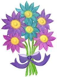 Pack of 3 Cards Pink Purple Aqua Flower Bouquet Drawing Small Handmade Card