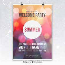Party Poster With Bokeh Background Free Vector