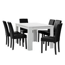 en casa esstisch weiß matt mit 6 stühlen schwarz kunstleder gepolstert 140x90 essgruppe esszimmer