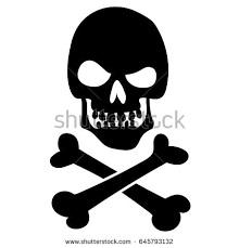 Evil Black Silhouette Skull With Angry View And Crossbones Pirate Flag Jolly Roger