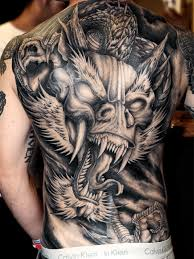 Black And Grey 3D Gothic Dragon Tattoo On Man Full Back