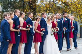 Cranberry And Navy Wedding Party For Fall