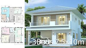 104 Contemporary House Design Plans Modern Plan 7 5x10m With 3beds Home Ideas