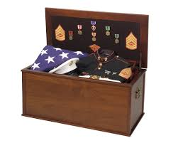 Warriors Military Foot Locker Display Case Chest Trunk For Uniform Memorabilia And American Flag MADE IN AMERICA