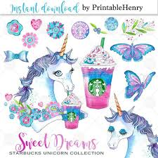 Cute Unicorn Clipart Starbucks Drink Planner Graphics