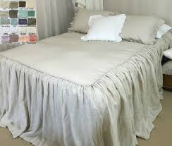 Box Pleat Bed Skirt by Bedspread With Gathered Ruffle Fall Linen Bedspread Ruffle
