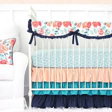 Coral And Mint Baby Bedding by Nursery Beddings Preppy Coral And Navy Baby Bedding As Well As
