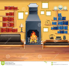 Living Room With Fireplace And Bookshelves by Living Room With Fireplace And Bookshelves Stock Vector Image