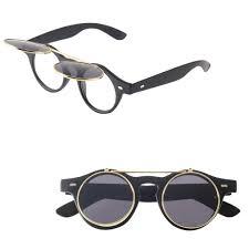 fashion goggles glasses retro flip up round sunglasses vintage