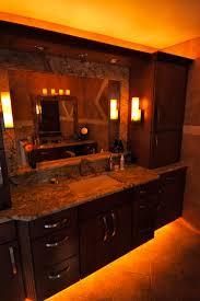 LED rope lights under the bathroom vanity Great idea