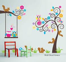 nursery wall decal birds owls squirrels swirly tree wall