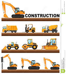 Different Types Of Construction Trucks On The Ground Stock Vector ...