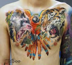 Animals Chest Piece With A Baboon Parrot Tiger