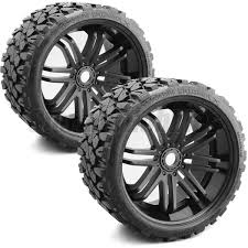 100 Rims Truck Sweep Terrain Crusher Belted Monster Tires On Black 2