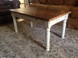 Crafted Trestle Style Farmhouse With Hand Reclaimed Painted Wood Furniture Table
