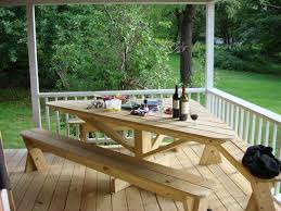 like this only with square table with bench built into deck and