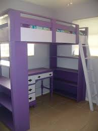 diy loft bed plans with a desk under purple loft bed with
