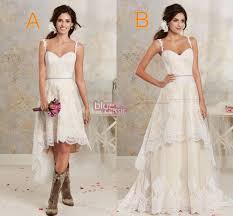 New Two Styles Country Wedding Dresses Hi Lo RobeGarden Detachable