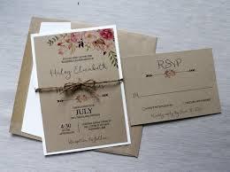 Boho Wedding Invitation Rustic Invitiation Watercolor Floral Bohemian Style Kraft Watercolour