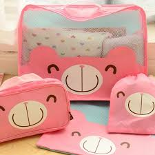 4PCS Set Cute Cartoon Travel Storage Bag Packing Cubes Luggage Organizer For Clothes Shoes Cosmetic