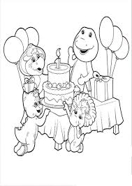 Barney Birthday Coloring Pages Az