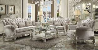 Von Furniture Versailles Formal Living Room Set In Ivory Throughout Sets Decorating