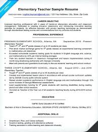 Primary Teacher Resume Examples Example For A Elementary Pre Fresher Sample