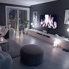gemütliches wohnzimmer dunkle wand grau taupe schwarzlicht