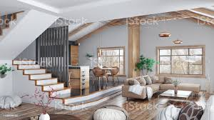 modernes interieur haus küche wohnzimmer mit sofa treppenhaus 3d rendering stockfoto und mehr bilder architektur