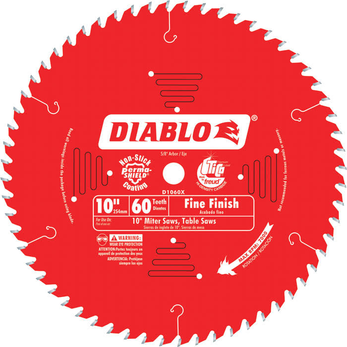Diablo D1060X Fine Finish Saw Blade - 10 in x 60 Tooth