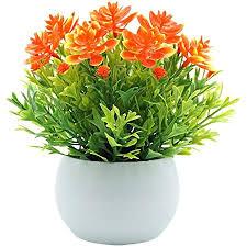 nikgic orange blumen künstliche pflanze plastik ich bin topf kunstpflanzen zum deko schlafzimmer tabelle kinderzimmer wohnzimmer tisch zuhause